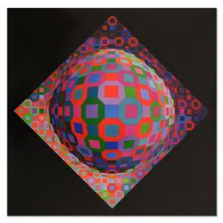 "Victor Vasarely (1908-1997), ""Planetary"" Heliogravure Print, Titled Inverso."
