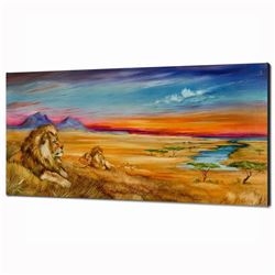 """Pride Of Lions"" Limited Edition Giclee on Canvas (36"" x 18"") by Martin Katon, Numbered and Hand Sig"