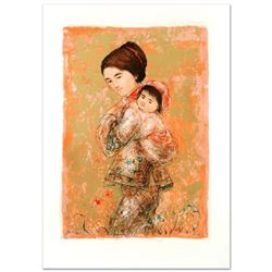"""""""Morning Stroll"""" Limited Edition Lithograph by Edna Hibel, Numbered and Hand Signed with Certificate"""