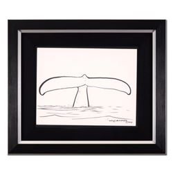 """Wyland, """"Whale Tail"""" Framed Original Sketch, Hand Signed with Certificate of Authenticity."""