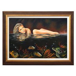"Vera V. Goncharenko- Original Oil on Canvas ""Swim in the Ocean"""