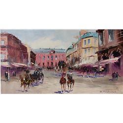 "Shalva Phachoshvili- Original Oil on Canvas ""The Square"""