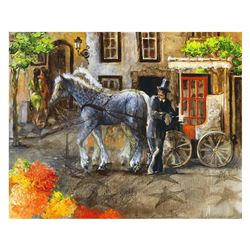 """Lena Sotskova, """"Town in Bloom"""" Hand Signed, Artist Embellished Limited Edition Giclee on Canvas with"""