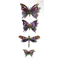 "Patricia Govezensky- Original Painting on Cutout Steel (Set of 4) ""Set of 4 Butterflies"""