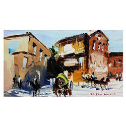 "Shalva Phachoshvili- Original Oil on Canvas ""Horse Farm"""