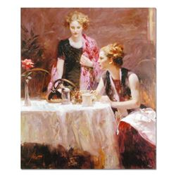 """Pino (1939-2010), """"After Dinner"""" Artist Embellished Limited Edition on Canvas, Numbered and Hand Sig"""