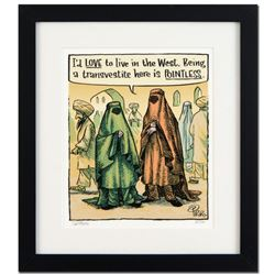 """Bizarro! """"Go West Young Man"""" is a Framed Limited Edition Hand Signed by creator Dan Piraro; Numbered"""