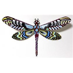 "Patricia Govezensky- Original Painting on Cutout Steel ""Dragonfly XIII"""