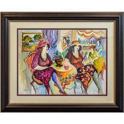"""Patricia Govezensky- Original Watercolor """"Vintage Afternoon Tea"""""""