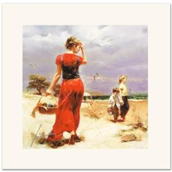 """Pino (1939-2010) """"Seaside Gathering"""" Limited Edition Giclee. Numbered and Hand Signed; Certificate o"""