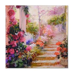 """Pino (1939-2010), """"Rose Garden Steps"""" Artist Embellished Limited Edition on Canvas, Numbered and Han"""