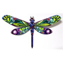 """Patricia Govezensky- Original Painting on Cutout Steel """"Dragonfly XII"""""""