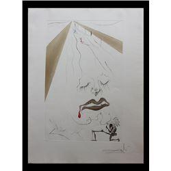 """Salvador Dali- Original Etching with color Added """"Transfiguration"""""""