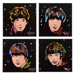 """KAT, """"4 Panel Beatles Set"""" Original Acrylic Painting on Gallery Wrapped Canvas, Hand Signed with Cer"""