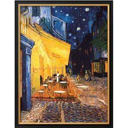 "Vincent van Gogh ""The Cafe Terrace on the Place du Forum, Arles, at Night"" Custom Framed"