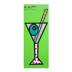 """Romero Britto """"Green Martini"""" Hand Signed Limited Edition Giclee on Canvas; Authenticated"""