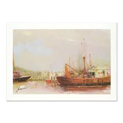 "Pino (1931-2010), ""At The Dock"" Limited Edition on Canvas, Numbered and Hand Signed with Certificate"
