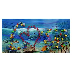 "Vera V. Goncharenko- Original Painting on Cutout Steel and Board ""Ocean Life"""