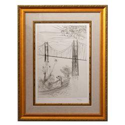"Salvador Dali- Etching ""San Francisco - Golden Gate Bridge"""