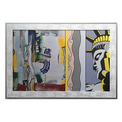 """Roy Lichtenstein- Offset Lithograph """"Painting with Statue of Liberty """""""