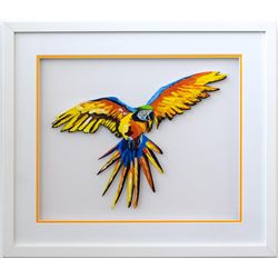 "Patricia Govezensky- Original Painting on Laser Cut Steel ""Macaw"""