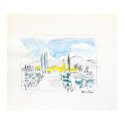 "Wayne Ensrud ""Robert Mondavi Winery, Napa Valley"" Mixed Media Original Artwork; Hand Signed; COA"
