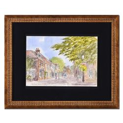 Martin Goode (1932-2002),  King Street, Thetford, Norfolk  Framed Original Watercolor Painting, Hand