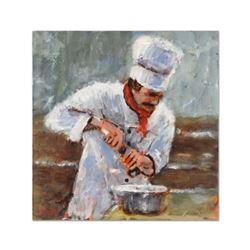 "Michael Maselli, ""La Chef Della Pasta"" Original Acrylic Painting on Canvas, Hand Signed with Certifi"