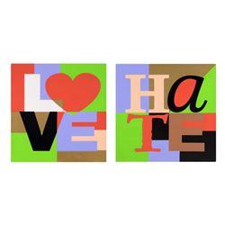 "Steve Kaufman (1960-2010), ""Love & Hate Set"" Limited Edition Silkscreen on Canvas, Each Numbered 33/"