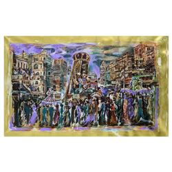 """Marta Wiley, Original Mixed Media Painting on Canvas (50"""" x 32""""), Thumb Printed and Hand Signed with"""