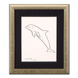 """Wyland, """"Dolphin"""" Framed Original Sketch, Hand Signed with Certificate of Authenticity."""