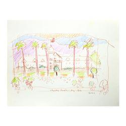 "Wayne Ensrud ""Christian Brothers Winery, Napa Valley"" Pencil Original Artwork; Hand Signed; COA"