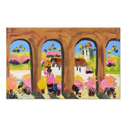 """Paul Blaine Henrie (1932-1999), """"Tlaquepaque Arches"""" Original Oil Painting (48"""" x 30"""") on Canvas, Ha"""