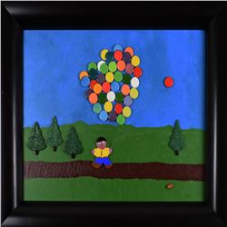 """George Marlowe, """"The Balloon Man"""" Framed, Hand Signed Original Painting with COA"""