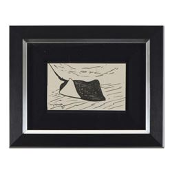 """Wyland, """"Stingray"""" Framed Original Sketch, Hand Signed with Certificate of Authenticity."""