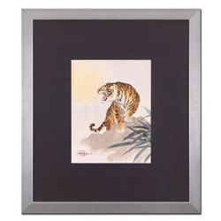 """Caroline Young, """"Tiger"""" Framed Original Gouache Painting on Mother of Pearl Paper, Hand Signed with"""