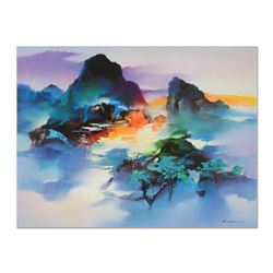 "H. Leung, ""Mountain Dream II"" Hand Embellished Limited Edition on Canvas, Numbered 79/100 and Hand S"