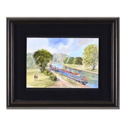 "Martin Goode (1932-2002), ""Berkhamsted"" Framed Original Watercolor Painting, Hand Signed with Certif"