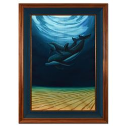 """Wyland, """"A Dolphin Love (With Reef)"""" Framed Original Oil Painting (32"""" x 44"""") on Canvas, Hand Signed"""