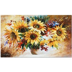 """Leonid Afremov """"Sunflowers"""" Limited Edition Giclee on Canvas, Numbered and Signed; Certificate of Au"""