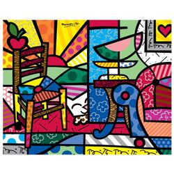 "Romero Britto ""New Squeaki Van Britto"" Hand Signed Giclee on Canvas; Authenticated"