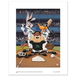 """""""At the Plate (Devil Rays)"""" Numbered Limited Edition Giclee from Warner Bros. with Certificate of Au"""