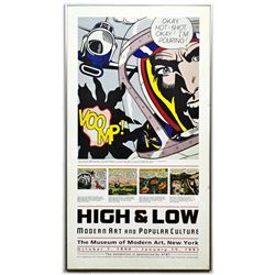 """ROY LICHTENSTEIN """"OKAY HOT SHOT"""" HIGH & LOW EXHIBITION LITHOGRAPH ON PAPER COA"""
