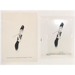 """Al Hirschfeld """"Audrey"""" Mylar screens use to crate the sold out limited edition lithograph"""