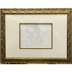 """Guillaume Azoulay - """"BI Sketch"""" Framed Original Drawing, Hand Signed with Certificate of Authenticit"""