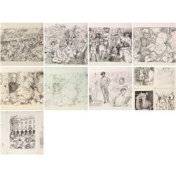 LUCIEN MORETTI SUITE EN NOIR SUITE OF 14 LITHOGRAPHS H/S & MATCHING NUMBERS COA