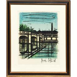 "Bernard Buffet ""Place De La Concorde"" Lithograph On Paper Custom Framed Signed"
