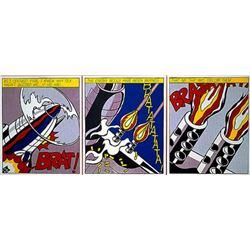 """After Roy Lichtenstein (American, 1923-1997) """"As I opened fire Poster Triptych"""""""