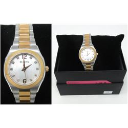 Ladies New 2 Tone Bulova Watch Set w/ 10 Diamonds