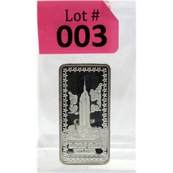 "1 Oz.  .999 Fine Silver ""Empire State Bulding"" Art Bar"